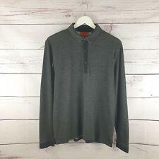 Mens Hugo Boss Charcoal Grey Long Sleeve Polo Shirt Size Large L