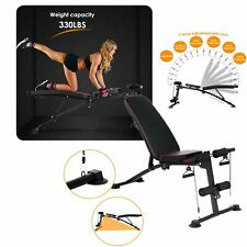 330LBS Adjustable Weight Bench Incline Decline Full Body Workout Training Gym US