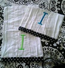 "Frazzled and Dazzled Diaper Liner Polka Dot Monogram ""I"" Teal (2) NEW Burp Rag"