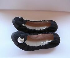 Chanel Leather Camellia Flower Flannel Ballet Flats Shoes 39 $970