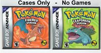 Pokemon FireRed and LeafGreen Custom Game Cases *NO GAME* (Game Boy Advance GBA)