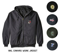 NHL Quilted Workmans Canvas Jacket by Dunbrooke Team Logo Size M-2XL