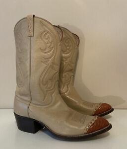 Vintage Dan Post Custom Made Genuine Leather Cowboy Boots Sz 13D
