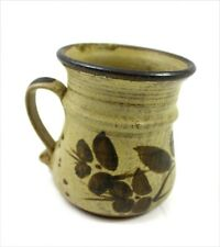 Charmouth Pottery Studio Ceramic Painted Leaves Brown British Hand Made Mug