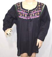 Jennifer Lauren Women Plus Size 1x 2x 3x Black Fuchsia Sequin Tunic Top Blouse