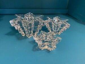 Clear Glass STAR Shaped RIBBED Taper Candle Holder Lot of 3