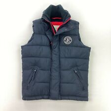 Abercrombie & Fitch Men's Navy Blue Full Zip Puffer Vest Fleece Lined • SMALL