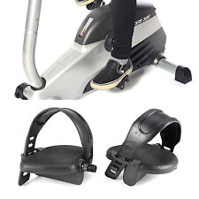 "1/2"" Thread Exercise Bike Pedals with Adjustable Straps Home Gym Bicycle Black"