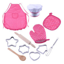 11x/Set Cooking Baking Cake Mold Tool Apron Chef Cap Kids Pretend Role Play Toys
