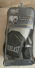 Everlast Evershield Tech Pro Style Elite Training Boxing Gloves White Grey 12oz
