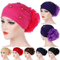Women's Big Flower Hijab Hair Loss Head Scarf Turban Cap Muslim Cancer Chemo Hat
