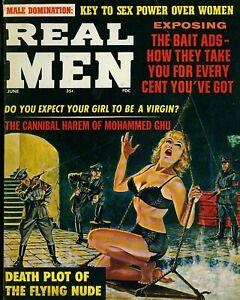 "Real Men Magazine Pulp cover color photo 8"" x 10"" REPRINT"