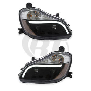 Headlights Headlamps for 13-19 Kenworth T-680 (Black) Left Right Pair Set
