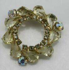 Vintage Gold tone pale yellow clear AB rhinestones open wreath brooch pin