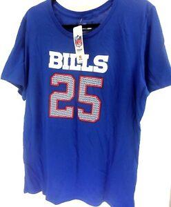 NWT Buffalo Bills NFL RB LeSean McCoy 25 Womens XXL Short Sleeve Shirt Blue