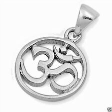 Om Sign Pendant Sterling Silver 925 Hindu Aum Yoga Jewelry Gift 18mm