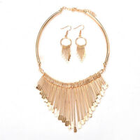 Fashion Women Tassel Pendant Chain Choker Collar Bib Necklace Jewelry Set GiftRA
