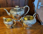 Attractive Good Antique Three Piece EPBM Silver Plated Repousse Teaset