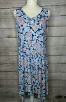 J. Jill Size Medium Shift Dress Sleeveless Stretch Rayon Blue Paisley