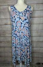 J. Jill Size Medium Shift Dress Sleeveless Stretch Rayon Blue Paisley