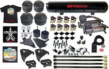 """Chevy S10 Air Kit Pewter Air Compressors 25 & 26 Bags 1/2"""" Valve Shirt Blk AVS 7"""