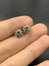 Stunning Vintage 9ct Gold Emerald And Diamond Earrings