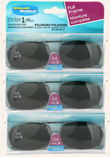 3 PACK Solar SHIELD CLIP ON Sunglasses FULL FRAME 54 REC 5 W/ CASE FREE SHIPPING