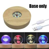 7 LED Light Unique 3D Electric USB Light Base Crystal Display Stand I4S4