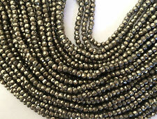 """13"""" STRAND STUNNING 4.5MM FACETED PYRITE RONDELLE BEADS"""