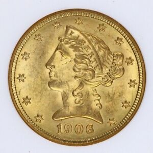 1906-D Gold Liberty Head 1/2 Eagle $5 NGC Old holder MS 63 creamy luster!