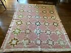 Old Antique Hand Sewn Quilt Textile Muted Country Colors AAFA Calico Cutter
