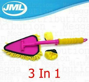 JML Microfibre 3 in 1 Dust & Clean Duster Cleaning pad Mitt Handle Hard to Reach