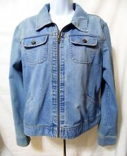St Johns Bay Womens Stretch Zippered Jean Jacket-Large
