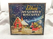 More details for vintage santa/father christmas theme-elkes xmas assorted biscuits-vintage tin