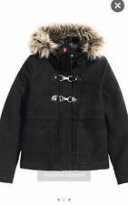 H&M Jacket Coat Women's Black Faux Fur Size 2
