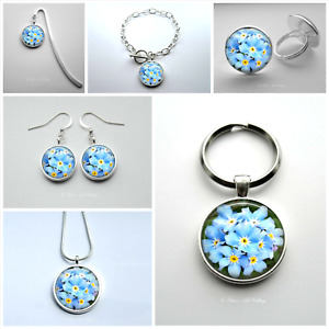Forget Me Not Earrings Bracelet Necklace Ring Keyring Bookmark Photo Jewellery