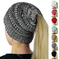 Women Winter Warm Messy High Bun Ponytail Stretchy Knitted Beanie Skull Hat New
