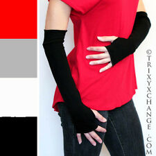 Black Cotton Fingerless Gloves Arm Wrist Hand Warmers Cycling Thumb Holes 1079