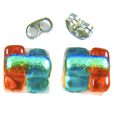 """Tiny Dichroic Glass Post Earrings 1/4"""" 9mm Square Orange Green Fused Layers Stud"""