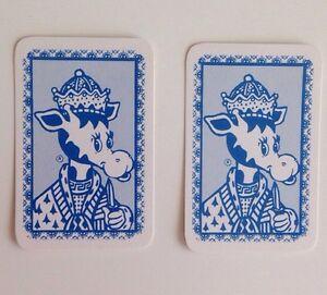 Miniature Vintage Cute Giraffe Swap Card Pair