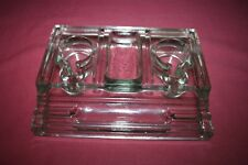 Vintage Clear Glass Double inkwell and Pen Holder