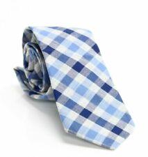 Bar III Men's Blue Bold Heather Gingham Plaid Skinny Slim Neck Tie $55 322
