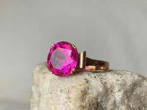 Gold Filled Magenta Stone Vtg Ring Sz 6.5 Jewelry 3.84g Prong Round Solitaire