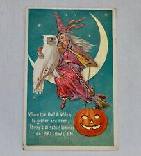 Vintage Halloween Postcard Witch, Owl & Pumpkin -  80627
