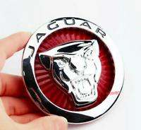 85mm Rot Chrom Jaguar Logo Vorne Grill Haube Motorhaube Kühlergrill Emblem
