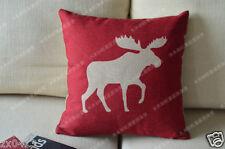 Vintage Retro Country Red Moose Home Decor Linen CUSHION COVER PILLOW CASE