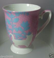 ASHDENE FOOTED FINE BONE CHINA MUG 350ML PATCHWORK GARDEN  PINK CAT 16165 MINT