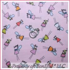 BonEful Fabric FQ Cotton Flannel Pink VTG Pillow Tooth Fairy Princess Angel Girl