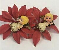 Vintage Christmas Decorations Ornaments Tie-On Angel Flocked Poinsettia Lot 2