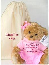 Personalised Teddy Bear 38cm Bridesmaid Flower Girl Doll Wedding Gift & Bag